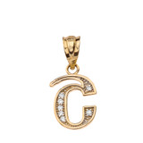 "Solid Yellow Gold Armenian Alphabet Diamond Initial ""Sh"" Pendant Necklace"