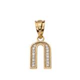 "Solid Yellow Gold Armenian Alphabet Diamond Initial ""O"" Pendant Necklace"
