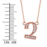 "14K Solid Rose Gold Armenian Alphabet Diamond Initial ""Chu"" Necklace"