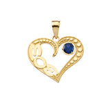 September Sapphire (LC) 'MOM' Heart Pendant Necklace in Yellow Gold
