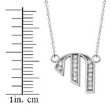 """14K Solid White Gold Armenian Alphabet Diamond Initial """"P"""" or  """"B"""" Necklace"""