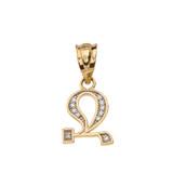 "Solid Yellow Gold Armenian Alphabet Diamond Initial ""Jh"" Pendant Necklace"