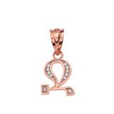 "Solid Rose Gold Armenian Alphabet Diamond Initial ""Jh"" Pendant Necklace"
