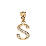 """Solid Yellow Gold Armenian Alphabet Diamond Initial """"T""""  or """"D"""" Pendant Necklace"""