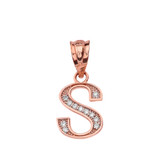 "Solid Rose Gold Armenian Alphabet Diamond Initial ""T""  or ""D"" Pendant Necklace"