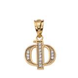 "Solid Yellow Gold Armenian Alphabet Diamond Initial ""F"" Pendant Necklace"