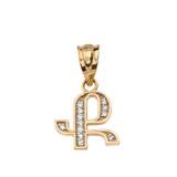 "Solid Yellow Gold Armenian Alphabet Diamond Initial ""K"" Pendant Necklace"