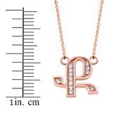 "14K Solid Rose Gold Armenian Alphabet Diamond Initial ""K"" Necklace"