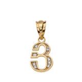 "Solid Yellow Gold Armenian Alphabet Diamond Initial ""Y"" Pendant Necklace"