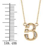 "14K Solid Yellow Gold Armenian Alphabet Diamond Initial ""Y"" Necklace"