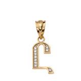 "Solid Yellow Gold Armenian Alphabet Diamond Initial ""Uh"" Pendant Necklace"