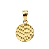 Hammered Round Pendant Necklace in Gold (Yellow/Rose/White)