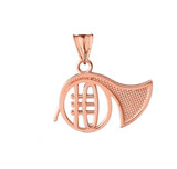 French Horn Pendant Necklace in Rose Gold