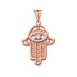 Chic Hamsa Evil Eye Pendant Necklace in Rose Gold