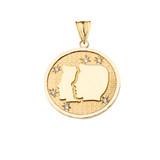 Designer Diamond Gemini Constellation Pendant Necklace in Yellow Gold