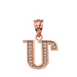 "Solid Rose Gold Armenian Alphabet Diamond Initial ""M"" Pendant Necklace"