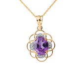 Flower of Life Personalized Birthstone Pendant Necklace in Yellow Gold