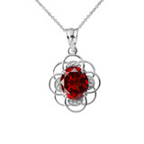Flower of Life Personalized Birthstone Pendant Necklace in White Gold