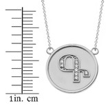 """14K Solid White Gold Armenian Alphabet Diamond Disc Initial """"G"""" or """"K"""" Necklace"""