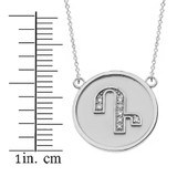 """14K Solid White Gold Armenian Alphabet Diamond Disc Initial """"D"""" or """"T""""  Necklace"""
