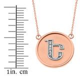 "14K Solid Two Tone Rose Gold Armenian Alphabet Diamond Disc Initial ""E"" Necklace"