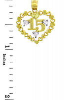 Gold Pendants - The Heart of Sweet 15th Birthday - Quinceanera Gold Pendant with Cubic Circonia