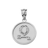 "Solid White Gold Armenian Alphabet Diamond Disc Initial ""Z"" Pendant Necklace"