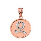 "Solid Two Tone Rose Gold Armenian Alphabet Diamond Disc Initial ""Z"" Pendant Necklace"