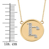 """14K Solid Two Tone Yellow Gold Armenian Alphabet Diamond Disc Initial """"Eh"""" Necklace"""