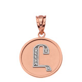 """Solid Two Tone Rose Gold Armenian Alphabet Diamond Disc Initial """"Uh"""" Pendant Necklace"""