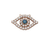 Cubic Zirconia Evil Eye Necklace in 14K Rose Gold