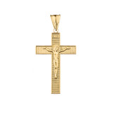 INRI Halo Crucifix Cross Pendant Necklace in Yellow Gold