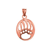 Rose Gold  Gold Bear Paw Print Pendant Necklace