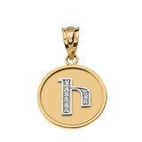 """Solid Two Tone Yellow Gold Armenian Alphabet Diamond Disc Initial """"I"""" Pendant Necklace"""