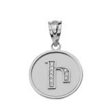 "Solid White Gold Armenian Alphabet Diamond Disc Initial ""I"" Pendant Necklace"