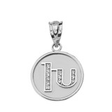 "Solid White Gold Armenian Alphabet Diamond Disc Initial ""Kh"" Pendant Necklace"