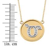 "14K Solid Two Tone Yellow Gold Armenian Alphabet Diamond Disc Initial ""Dz"" Necklace"
