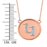 """14K Solid Two Tone Rose Gold Armenian Alphabet Diamond Disc Initial """"G"""" Necklace"""