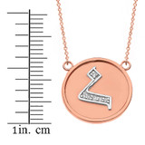 """14K Solid Two Tone Rose Gold Armenian Alphabet Diamond Disc Initial """"h"""" Necklace"""