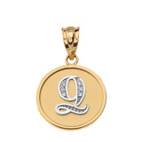"""Solid Two Tone Yellow Gold Armenian Alphabet Diamond Disc Initial """"Ts"""" or """"Dz"""" Pendant Necklace"""