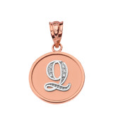 """Solid Two Tone Rose Gold Armenian Alphabet Diamond Disc Initial """"Ts"""" or """"Dz"""" Pendant Necklace"""