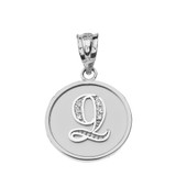 "Solid White Gold Armenian Alphabet Diamond Disc Initial ""Ts"" or ""Dz"" Pendant Necklace"