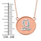 """14K Solid Two Tone Rose Gold Armenian Alphabet Diamond Disc Initial """"Ts"""" or """"Dz"""" Necklace"""