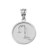 "Solid White Gold Armenian Alphabet Diamond Disc Initial ""Gh"" Pendant Necklace"