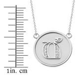 "14K Solid White Gold Armenian Alphabet Diamond Disc Initial ""Ch"" Necklace"