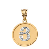 """Solid Two Tone Yellow Gold Armenian Alphabet Diamond Disc Initial """"Y"""" Pendant Necklace"""
