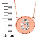 """14K Solid Two Tone Rose Gold Armenian Alphabet Diamond Disc Initial """"Y"""" Necklace"""