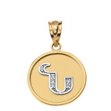 """Solid Two Tone Yellow Gold Armenian Alphabet Diamond Disc Initial """"N"""" Pendant Necklace"""