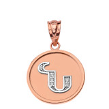 """Solid Two Tone Rose Gold Armenian Alphabet Diamond Disc Initial """"N"""" Pendant Necklace"""