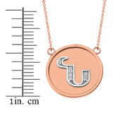 """14K Solid Two Tone Rose Gold Armenian Alphabet Diamond Disc Initial """"N"""" Necklace"""